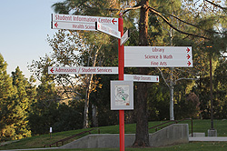 Saddleback College campus building directional signs